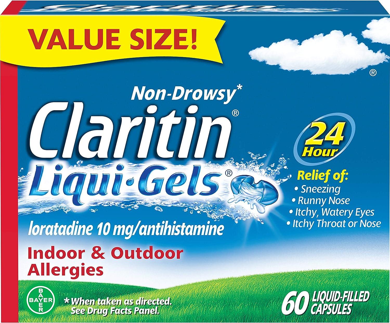 Claritin Liqui-Gels 24 Hour Allergy Relief, Non-Drowsy Allergy Medicine, Loratadine Antihistamine Capsules, 60 Count: Health & Personal Care