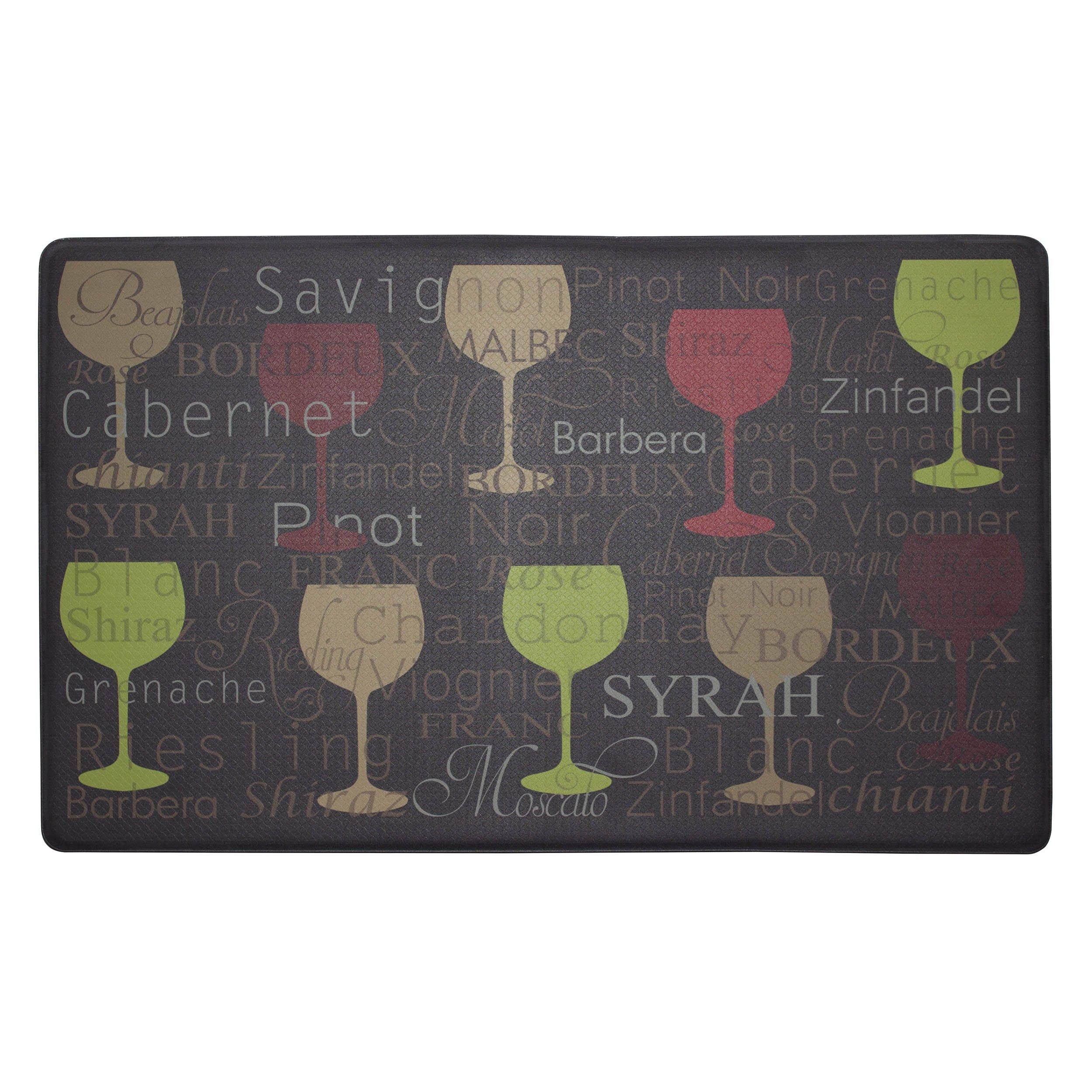 Chef Gear Wine Typography Anti-Fatigue Comfort Memory Foam Kitchen Chef Mat, 18 x 30
