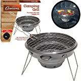 "Camerons Products Tailgater Grill - Portable Camping or Tailgating Grill with 12"" Non Stick Stainless Grill Surface and Carry Bag"
