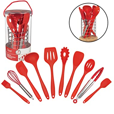 Silicone Kitchen Cooking Utensils w Bamboo Holder- 10 Pc Gourmet Tools Set- Spatula, Spoon, Slotted Spoon, Tongs, Basting Brush, Ladle and More