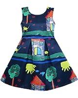 Sunny Fashion Girls Dress Tree House Cat Butterfly Bird Flower Print