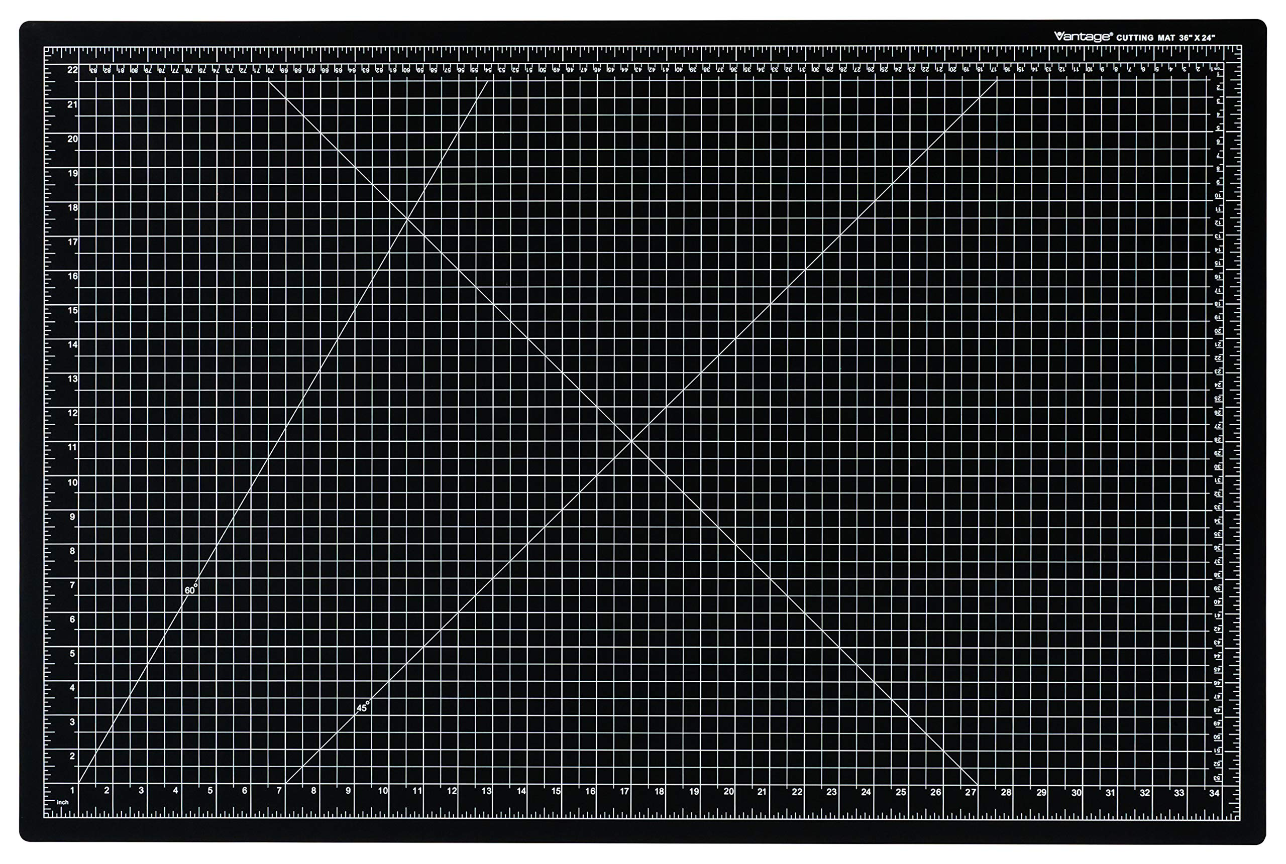 Dahle Vantage 10673 Self-Healing 5-Layer Cutting Mat Perfect for Crafts and Sewing 24'' x 36'' Black Mat
