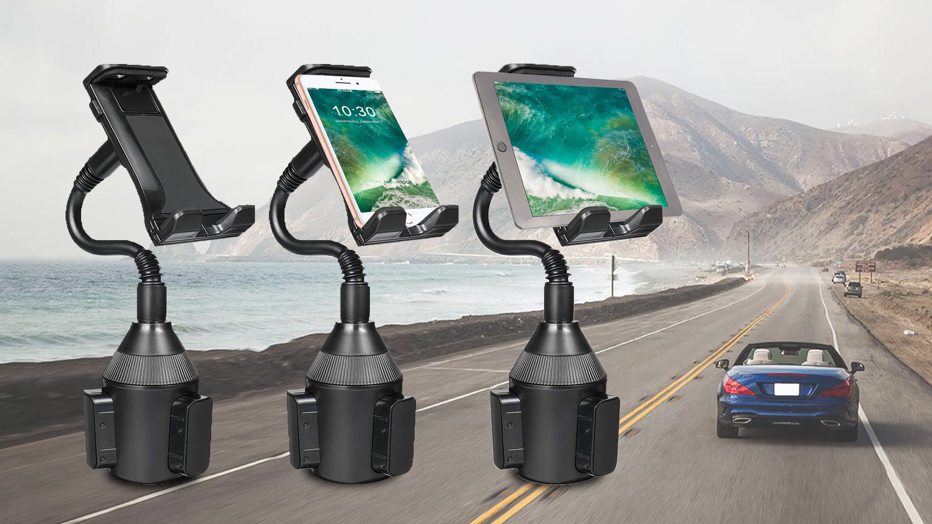 Apple iPad Pro 10.5 9.7 Air Mini iPhone 11 Pro Xs Max XR X /& Mobile Device Up to 8 Wide Samsung Galaxy Tab Works as Cup Holder Tablet Mount and Phone Macally Heavy-Duty Tablet Holder for Car