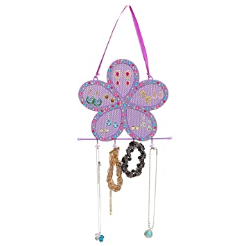 Purple Metal Mesh Rhinestones Flower Design Earring Holder Jewelry Hook Hanging Display Rack Mygift Amazon In Home Kitchen