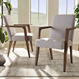 Baxton Studio Andrea Upholstered Arm Chair in Gray Beige (Set of 2)