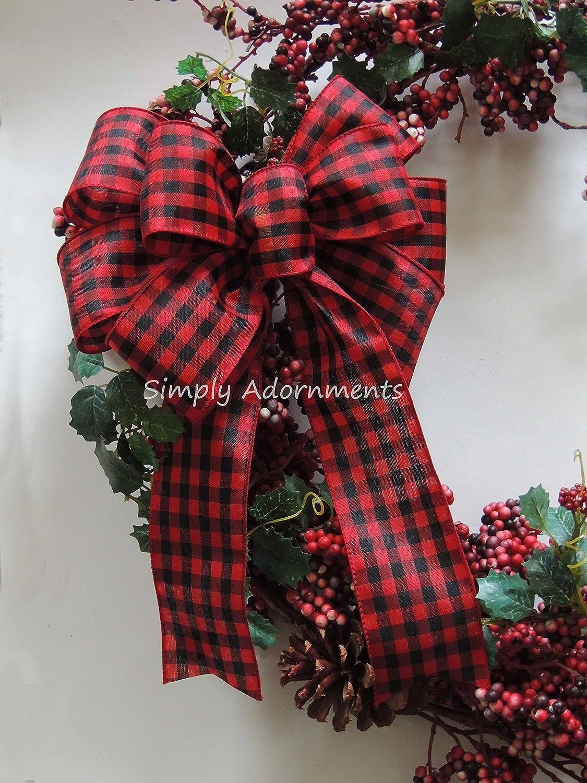 Amazon.com: Red Black Check Bow Rustic Cabin Plaid Wreath Bow Red Black  Buffalo Plaid Bow Country Plaid Wedding Bow Cabin Christmas Tree Bow:  Handmade