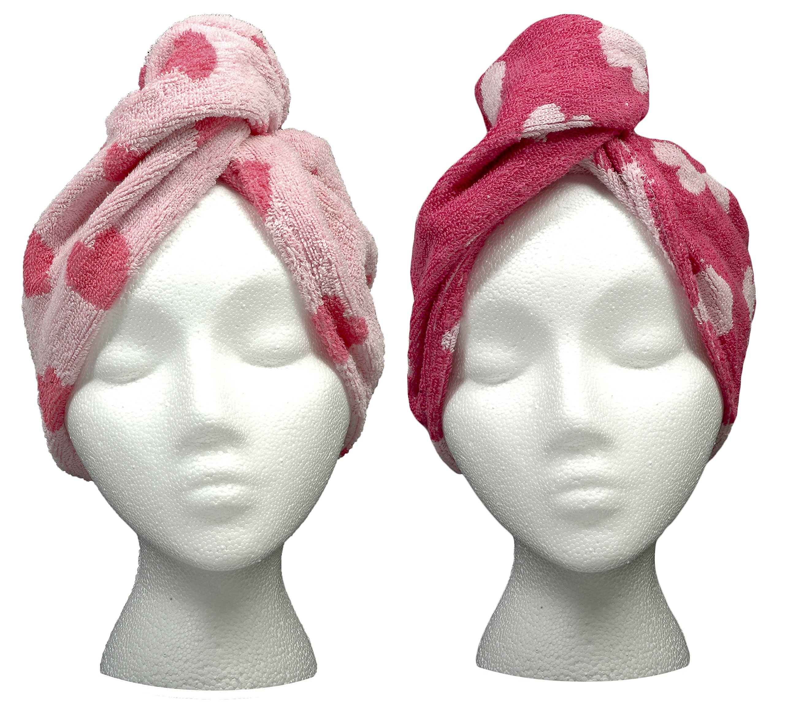 Turbie Twist Cotton Super Absorbent Hair Towel (2 Pack) Pink Hearts by Turbie Twist (Image #1)