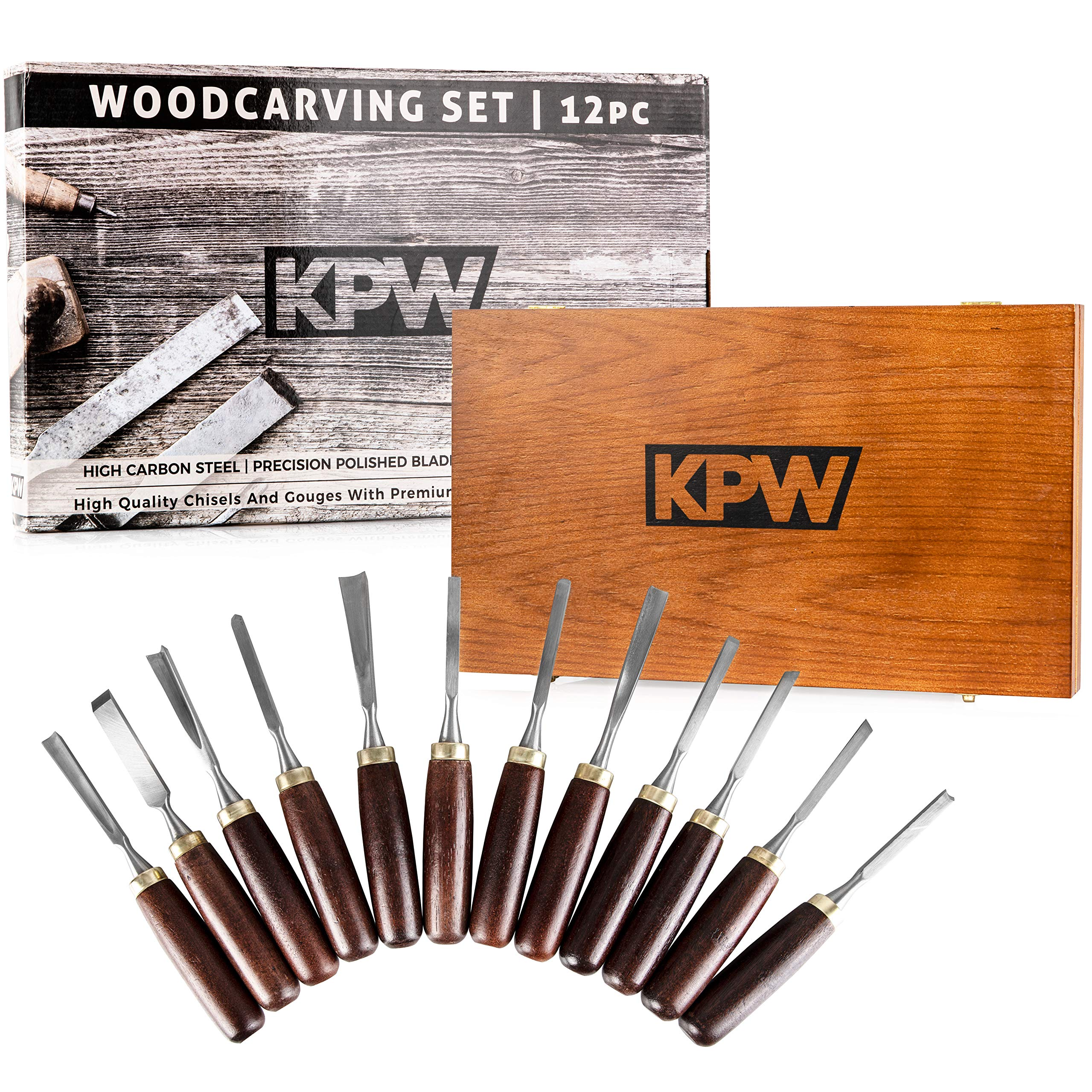 KPW Professional Wood Chisel Set with Wooden Presentation Box | Woodworking & Carving Tools with Chrome Vanadium Steel Blades & Walnut Handles | Lifetime Replacement | Ergonomically Designed | by KPW