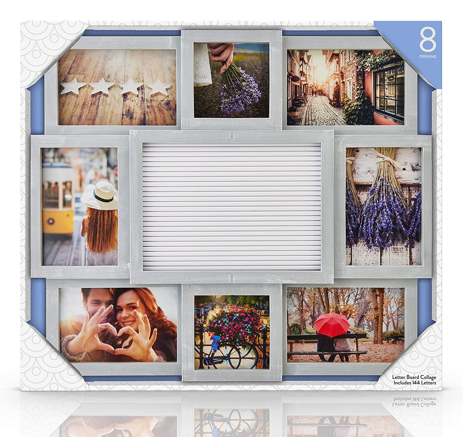 Amazon.com: MELANNCO Customizable Letter Board with 8-Opening Photo ...
