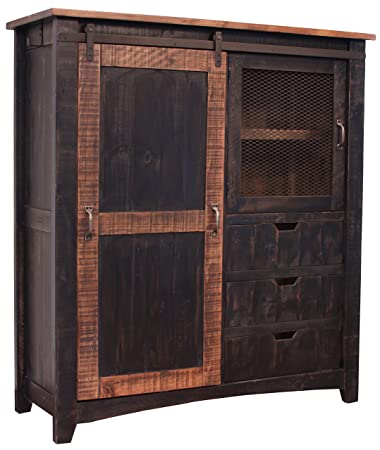 Distressed Black Sturdy Solid Wood Anton Sliding Barn Door Gentlemans Chest  Armoire. Arrives Fully Assembled