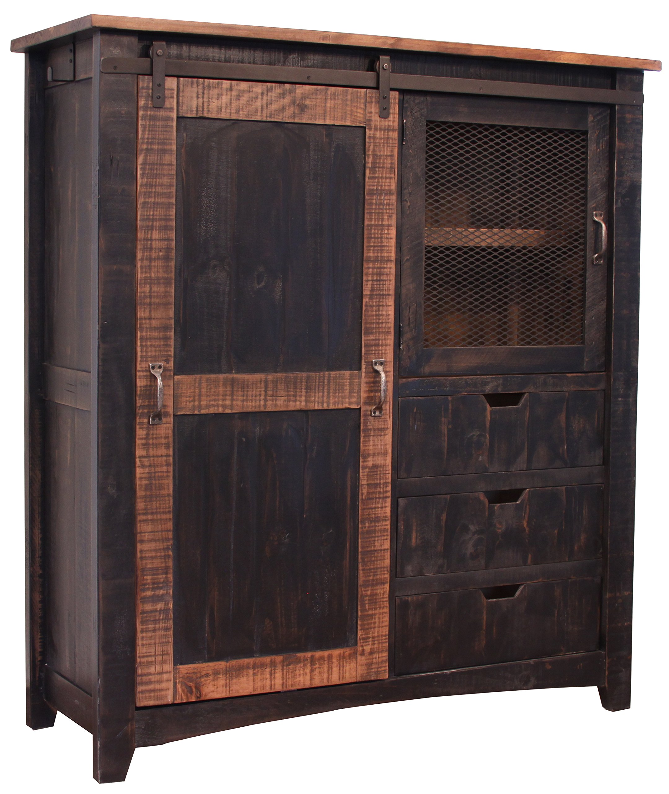 Distressed Black Sturdy Solid Wood Anton Sliding Barn Door Gentlemans Chest Armoire. Arrives Fully Assembled And Features Upgraded Dovetail Drawers With Ball Bearing Glides