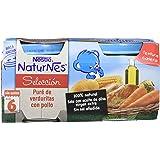 Nestlé Selección Tarrito de puré de verduras y carne, variedad puré de Verduritas con Pollo - Para bebés a partir de 6 meses - Paquete de 5x2 Tarritos de 200g