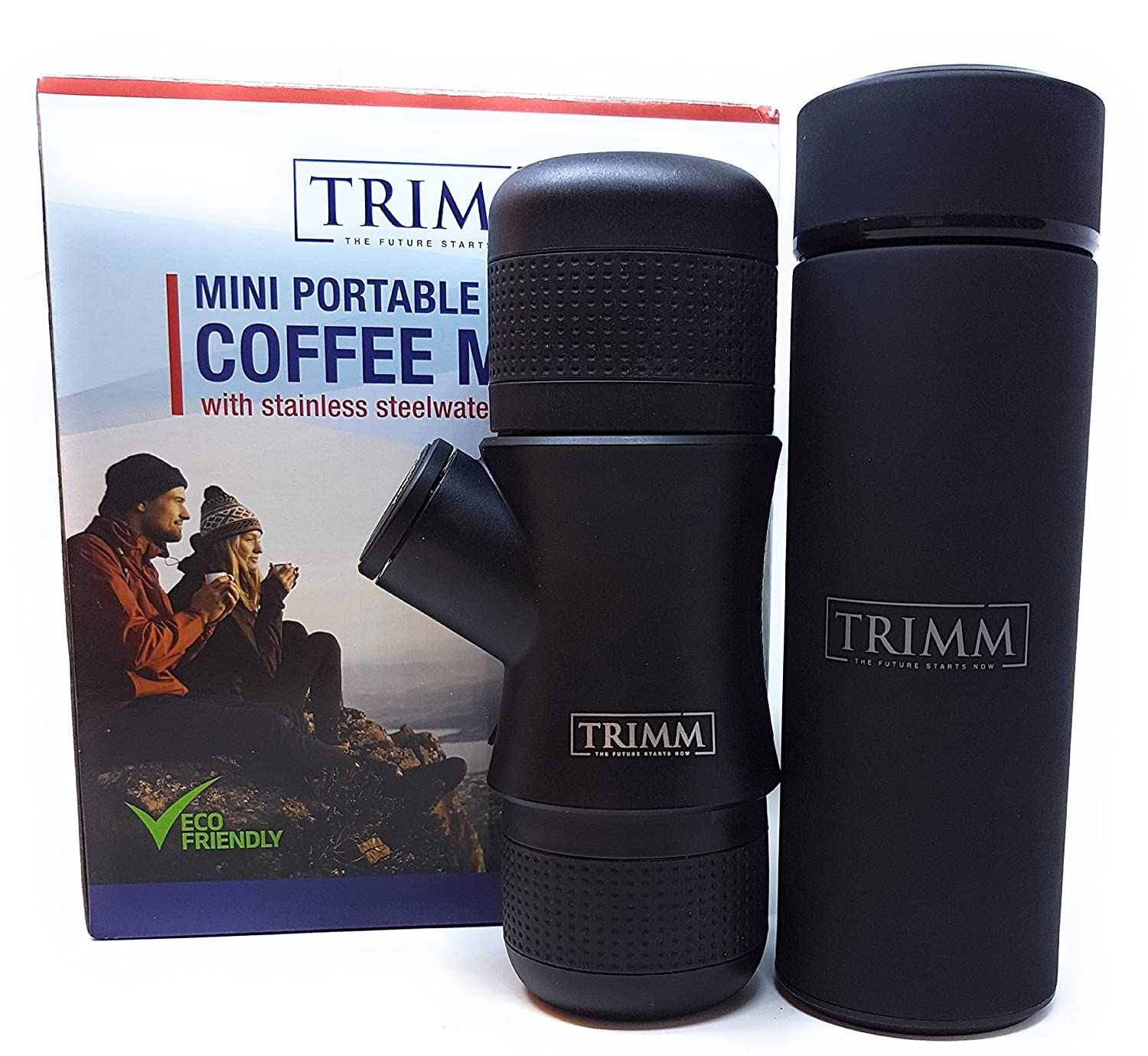 Trimm Portable Hand Held Espresso Machine and Thermos Vacuum Insulated Double Wall | Portable Espresso Maker and Flask | Single Cup Coffee Maker and Tea Thermos Bottle | Travel Set Great Gift Idea