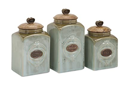 Beautiful Amazon.com: IMAX 73327-3 Addison Ceramic Canisters – Tea Coffee  AF32