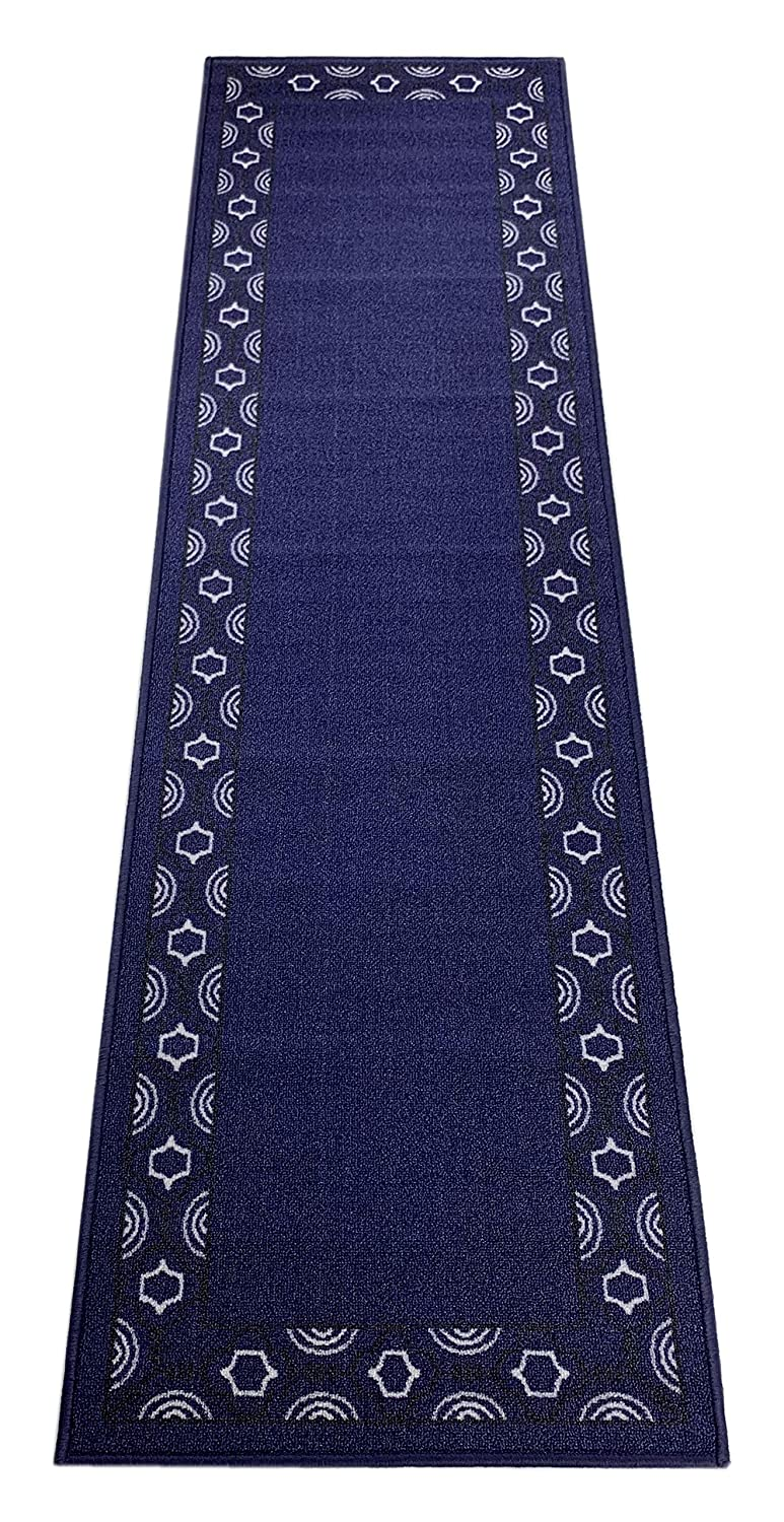 """Trellis Border Moroccan Design Printed Slip Resistant Rubber Back Latex Runner Rug and Area Rugs More Color Options Available (Royal Navy Blue, 1'11"""" x 7')"""
