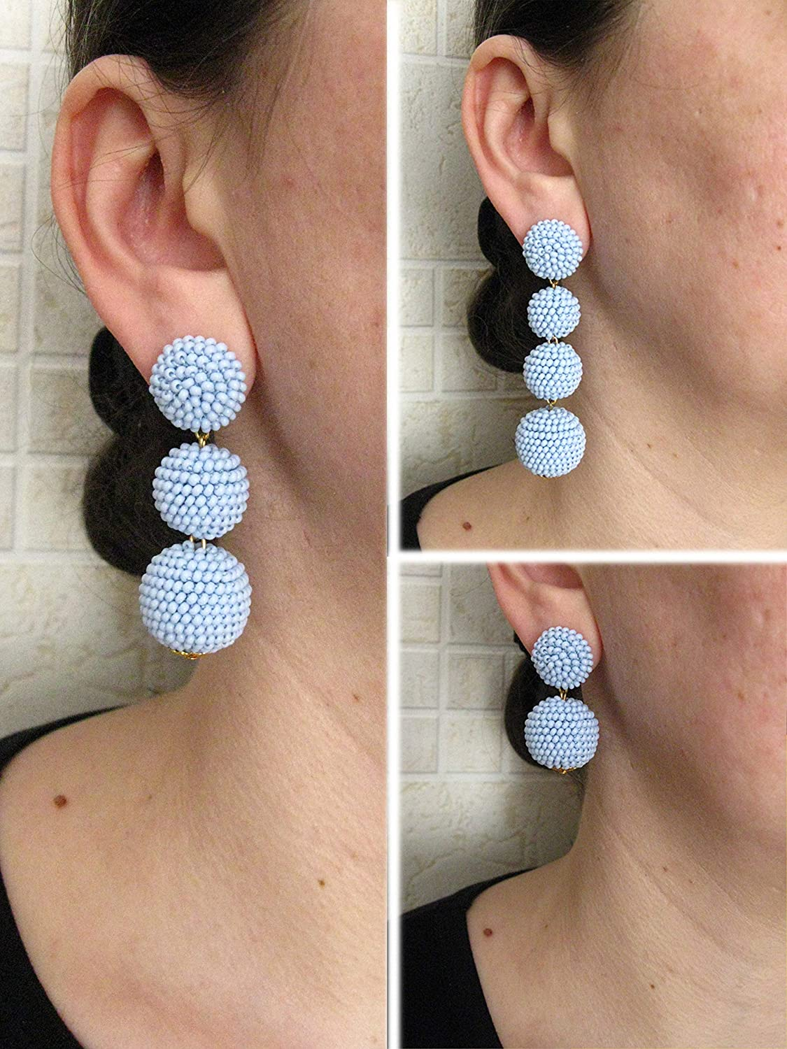 Moroccan Print Earrings Red Blue Image on Both Sides with Sterling Silver French Wire NEW SIZE Lightweight!