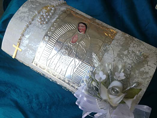 Amazon.com: Baptism Candle Set Off White Hand Made Wooden Chest with Virgen De Guadalupe/ Vela Para Bautizo/vela Para Bautismo: Home & Kitchen