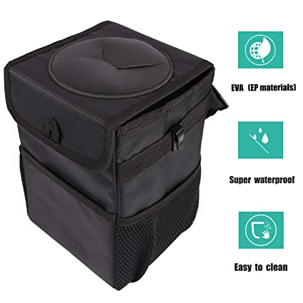 Outdoor Car Storage >> Hanging Car Garbage Can With Lid Collapsible Portable Outdoor Automotive Trash Bag With 3 Pockets Vehicle Storage Box For Kids 1 6 Gal