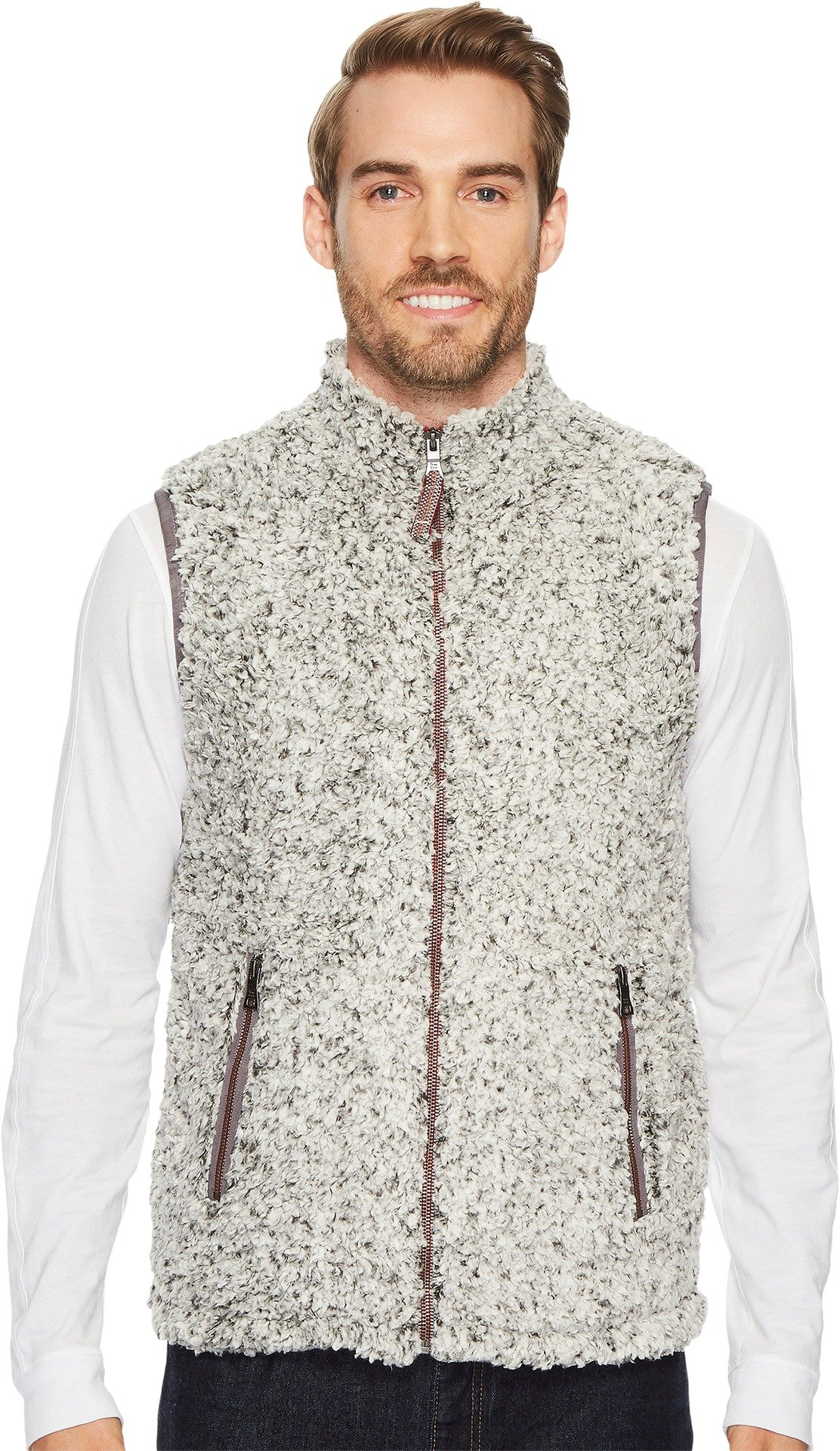 True Grit Men's Frosty Tipped Double Vest with Zip Pockets, Charcoal, M