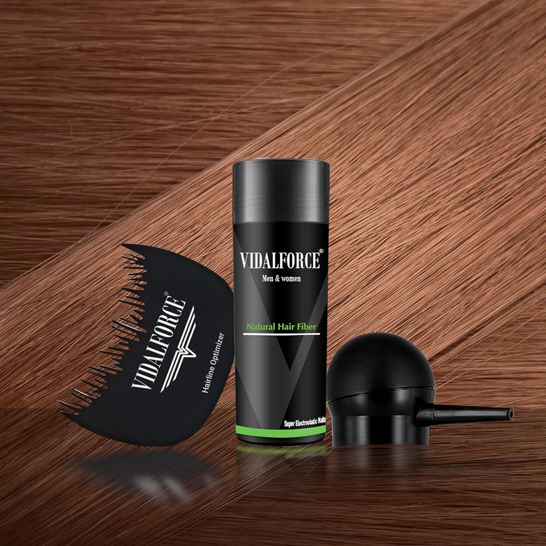 VidalForce Fibra Capilar 27,5g + Bomba + Optimizador/Castaño Claro /: Amazon.es: Belleza