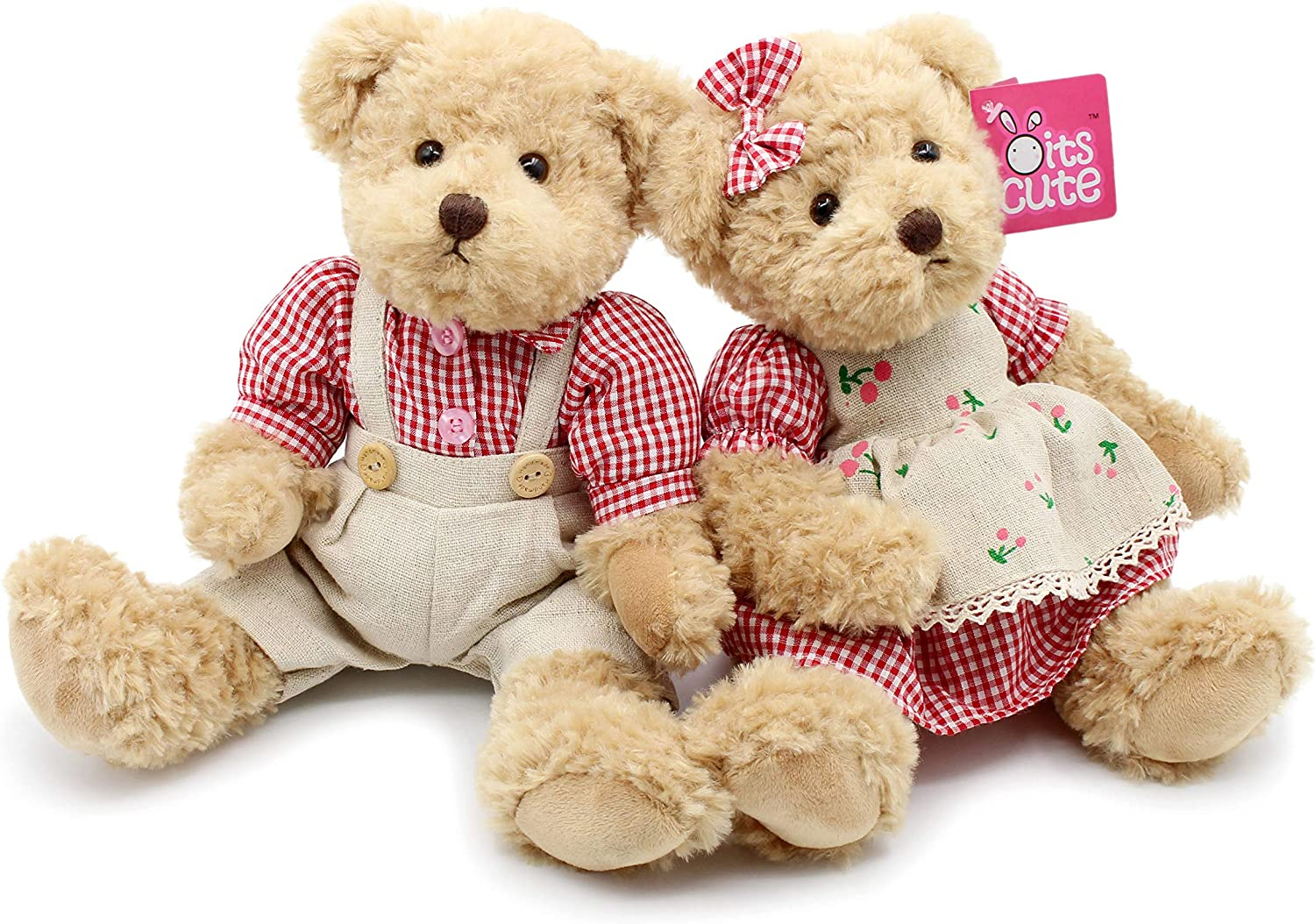 Oitscute 2-Pack Teddy Bear,Cute Stuffed Animal,Couple Gift Soft Plush Toy 11inch Blue Plaid Clothes