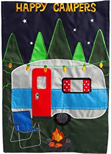 Evergreen Flag Happy Campers Applique Garden Flag - 12.5 x 18 Inches Outdoor Decor for Homes and Gardens