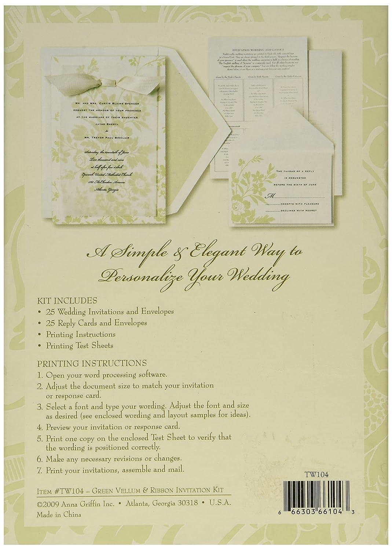 Amazon.com: Always Anna Griffin Ivory & Green Floral Vellum Wedding ...
