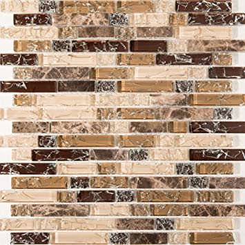 Gebrochen Glas Und Marmor Naturstein Mosaik Fliesen Matte In Braun Und Weiß  Mit Ziegelstein Optik (