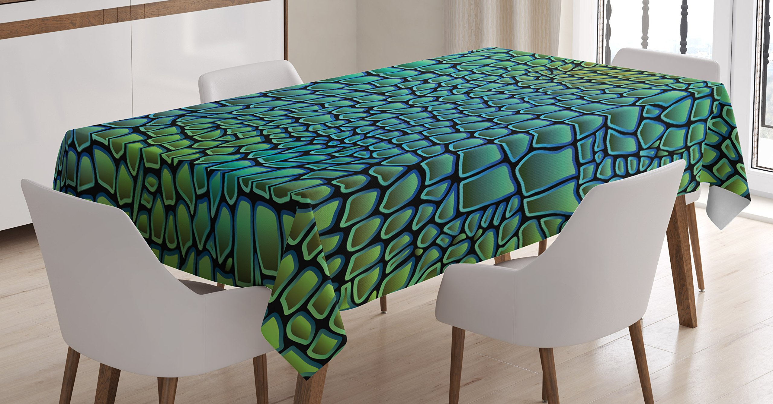 Ambesonne Abstract Tablecloth, Alligator Skin African Animal Crocodile Reptile Safari Wildlife Vibrant Artwork, Dining Room Kitchen Rectangular Table Cover, 52 W X 70 L inches, Green Blue