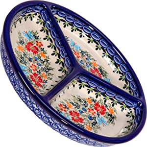 Polish Pottery Ceramika Boleslawiec, 0727/238, Mercedes Divided Platter, 10 3/4 Inches in Diameter, Royal Blue Patterns with Red Cornflower and Blue Butterflies Motif