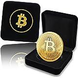 Pièce de Bitcoin physique plaqué en or de 24 carats. Un étui noble pour une pièce de collection unique