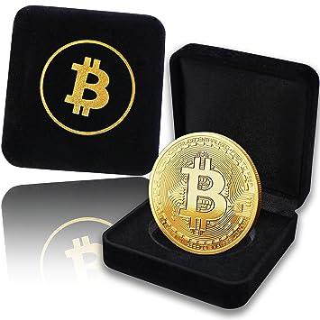 Medalla Bitcoin física recubierta de oro auténtico de 24 quilates. En un cofre noble para una verdadera pieza de coleccionista