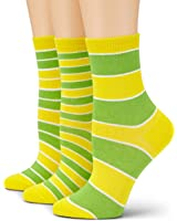 Loonysocks, 3 Pair of Colorful Cotton Rich Women/ Ladies & Girls Yellow Green Mix Socks