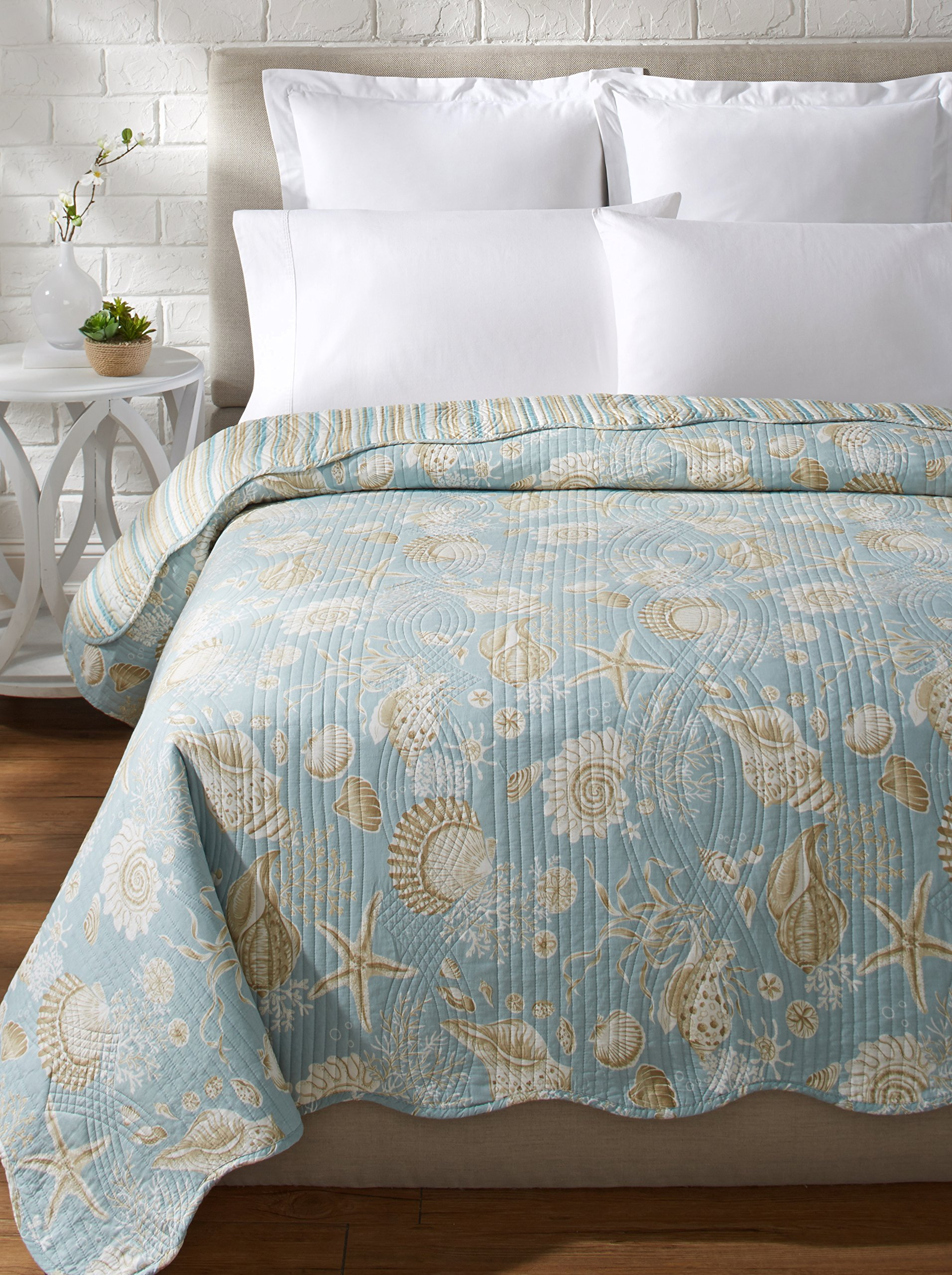 C&F Home Luxury Oversized Natural Shells King Quilt 105x92