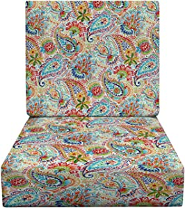 """RSH Décor Indoor Outdoor Foam Deep Seating Cushion Set, 23"""" x 24"""" x 5"""" Seat and 23"""" x 19"""" x 3"""" Back, Choose Color (Thin Line Paisley)"""