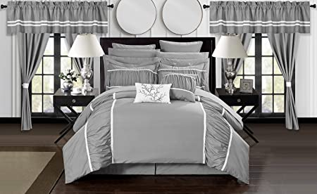 Chic Home Mayan 24 Piece Bed in a Bag Comforter Set, Queen, Silver,