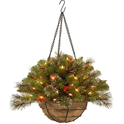 Christmas Hanging Baskets With Lights.Amazon Com 20 Pre Lit Artificial Pine Christmas Hanging