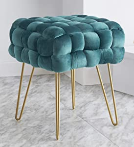 Ornavo Home Mirage Modern Contemporary Square Woven Upholstered Velvet Ottoman with Gold Metal Legs - Teal