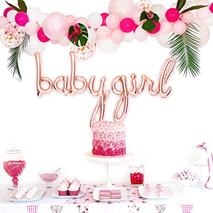 Amazon Com Baby Shower Decorations For Girl Baby Girl Shower Decorations Baby Shower Balloons Balloon Garland Kit 11 5 Pink White And Confetti Balloons Rose Gold Baby