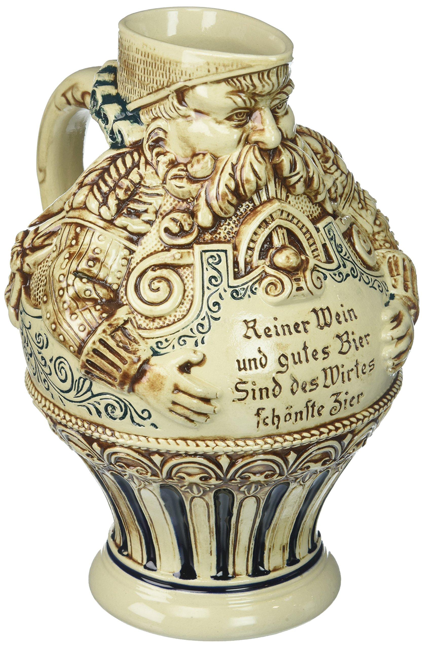 M. CORNELL IMPORTERS 6446 Bartmann Krug, German Stoneware Antique Jug