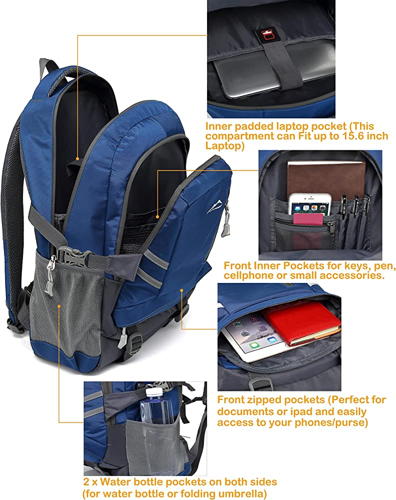 School Backpack BookBag for Student College Travel Hiking Fit Laptop Up to 15.6 Inch