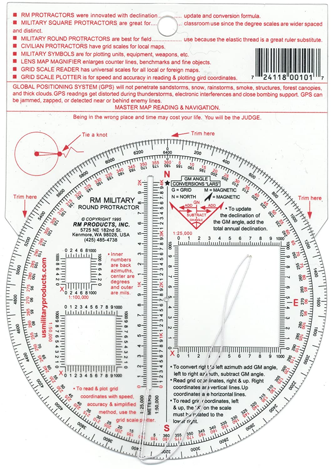 #7 RM Products Military Round Protractor Inc