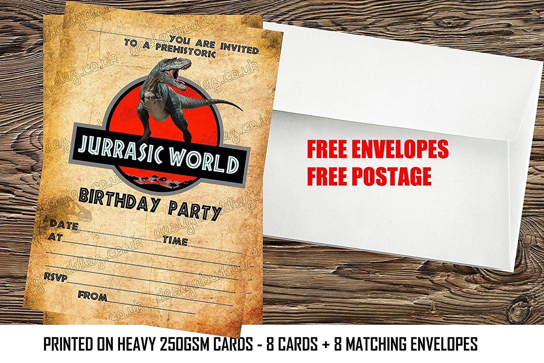 boys Jurassic world /dinosaurs Birthday Party Invitations x8 + envelopes (8) design buddies