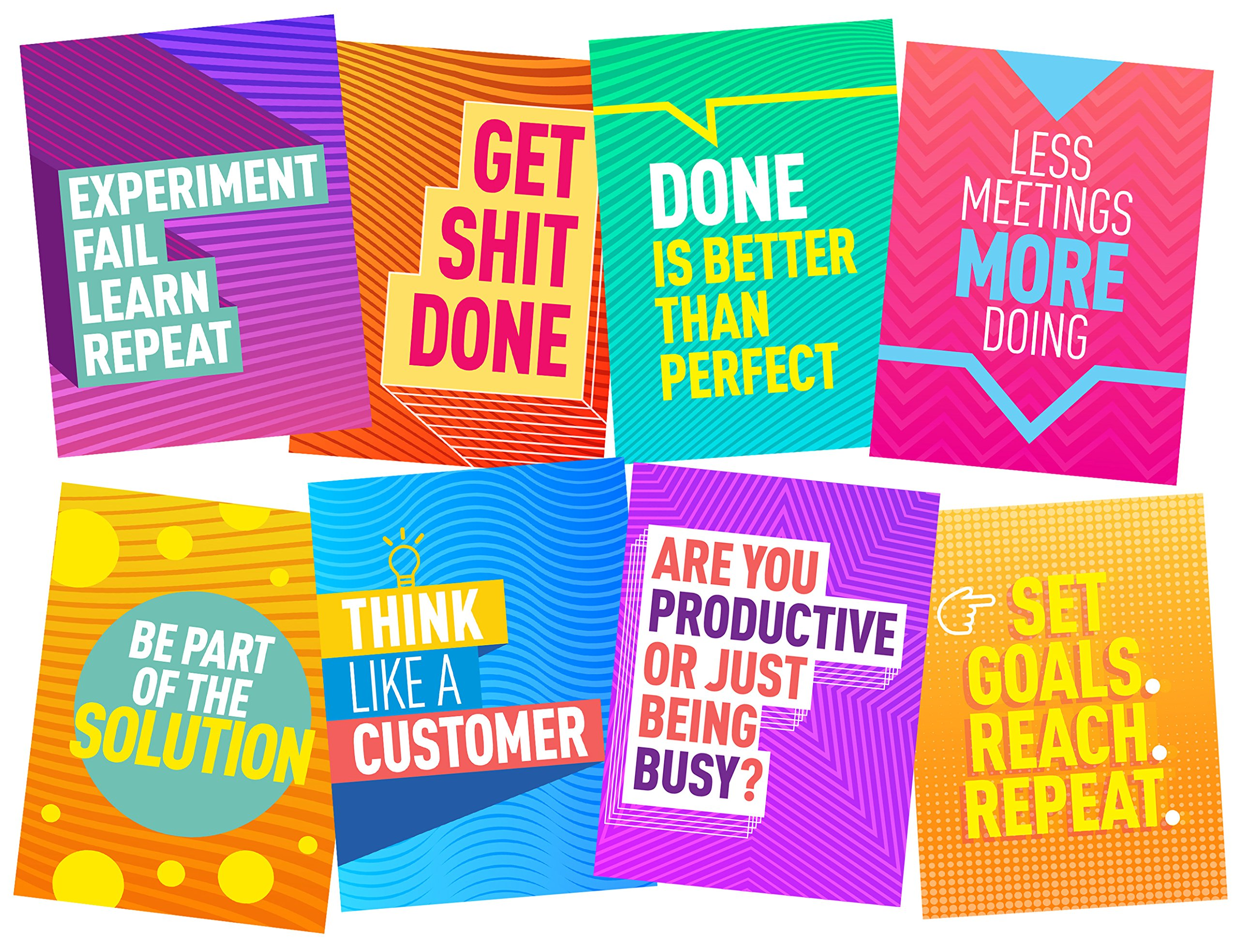 8 Motivational Posters - Wall Art - Office Startup Decorative Posters - Set of 8 - Size 17x22