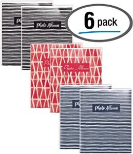 Better Office Products 36 Photo Mini Photo Album, 4 x 6 Inch, Pack of 6, Flexible Cover with Removable Decorative Inserts, Clear View Front Cover, 6 Pack