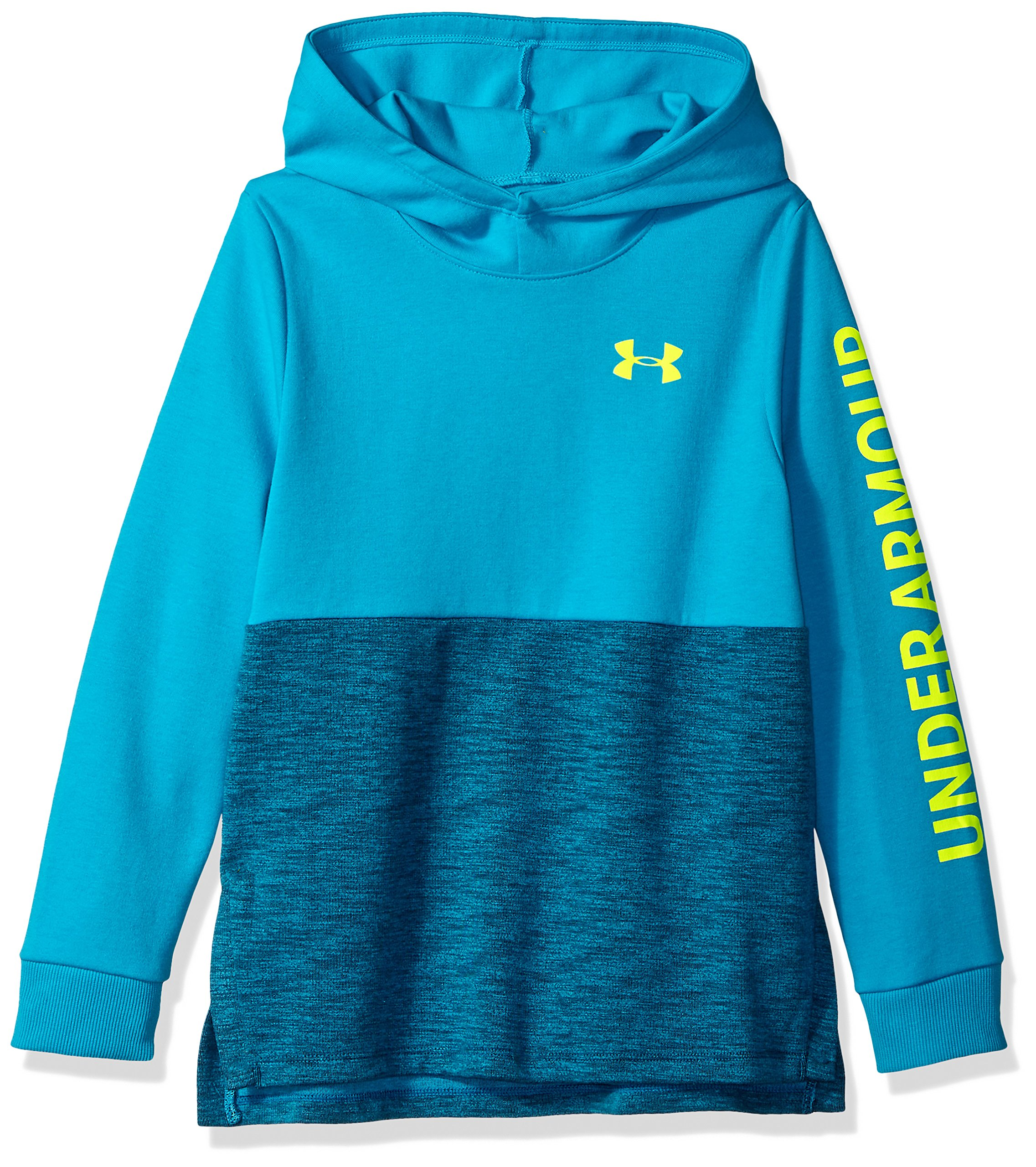 Under Armour Girls Double Knit Hoodie, Deceit (439)/High-Vis Yellow, Youth Medium