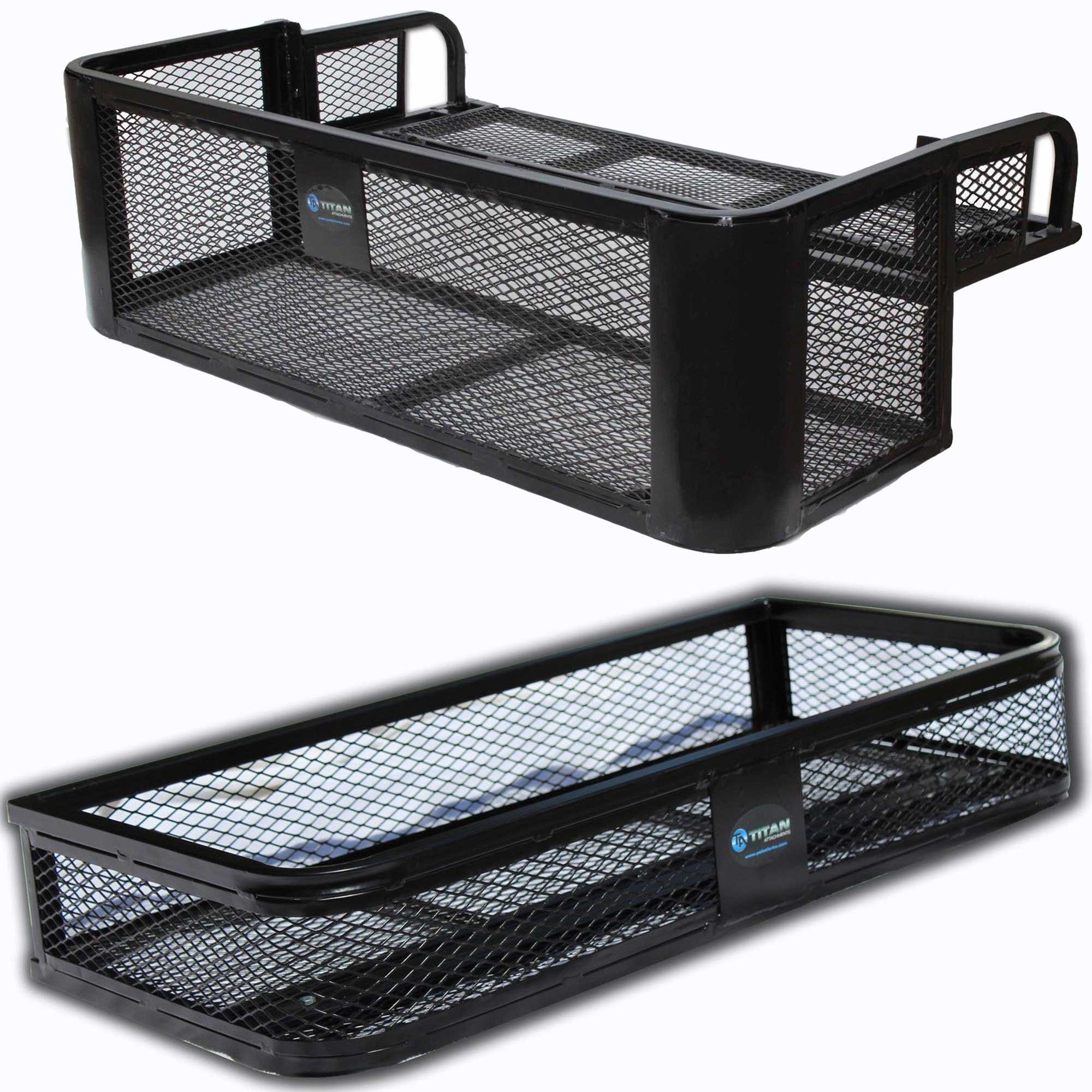 Titan Ramps Universal Front ATV HD Steel Cargo Basket w/Rear Drop Basket Set by Titan Ramps