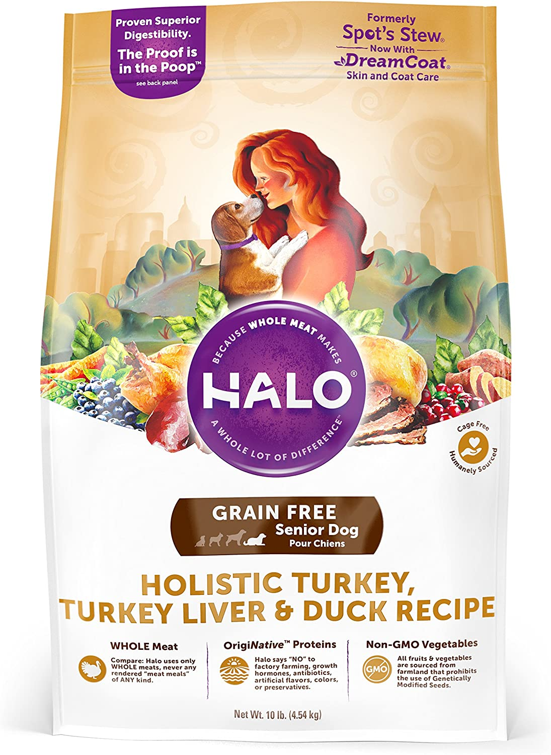 Halo Grain Free Natural Dry Dog Food, Senior Turkey, Turkey Liver Duck Recipe