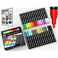 Acrylic Paint Pens 30 Assorted Markers Set 3.0mm Medium TIP for Rock, Glass, Mugs, Porcelain, Wood, Metal, Fabric, Canvas, DIY Projects. Non Toxic, Waterbased, Quick Drying.