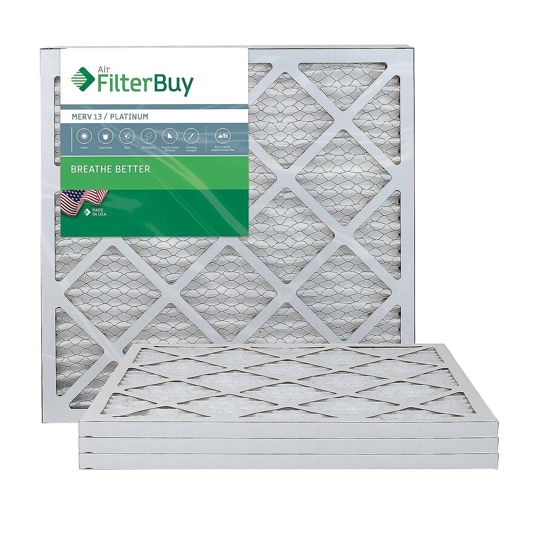 FilterBuy 20x20x1 MERV 13 Pleated AC Furnace Air Filter, (Pack of 4 Filters), 20x20x1 – Platinum AFB20x20x1M13pk4